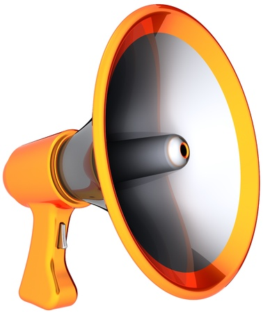 Megaphone announcement communication. Shiny colorful (silver, orange parts) loudspeaker. News message propaganda broadcast concept. This is a detailed render 3d (Hi-Res). Isolated on white background photo