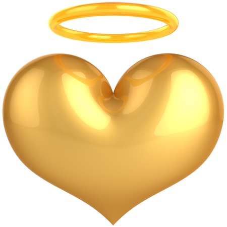 Heart Love Angel golden symbol. In Love we trust concept. Holy heaven paradise abstract. This is a detailed render 3d (Hi-Res). Isolated on white background