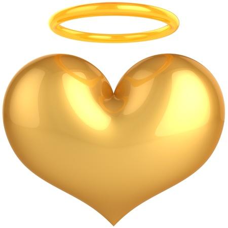 Love Angel gouden hartsymbool. We vertrouwen in liefde concept. Heilige hemel paradijs abstract. Dit is een gedetailleerde 3d renderen (Hi-Res). Geïsoleerd op witte achtergrond