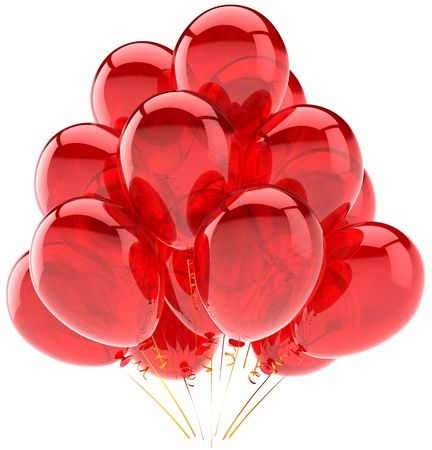 Party balloons translucent colored red. Modern birthday celebration holiday decoration. Joyful happiness emotions concept. This is a detailed three-dimensional render 3d. Isolated on white background photo