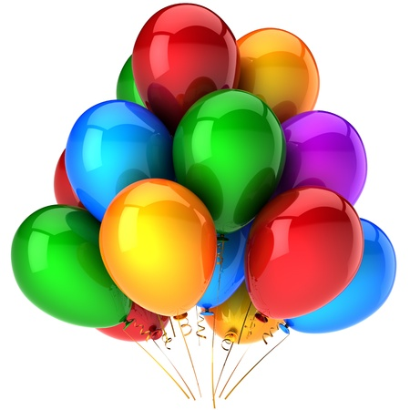 best party: Partito palloncini multicolori. Lucido colorato compleanno celebrare la decorazione. Abstract positivo gioiosa felicit�. Questa � una dettagliata rendering 3D (Hi-res). Isolato su sfondo bianco