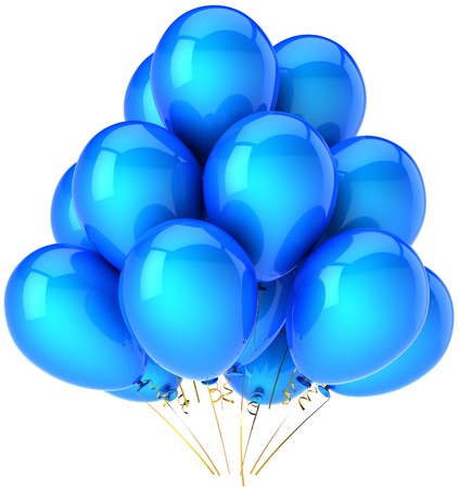 Party balloons total blue cyan. Colorful shiny birthday festival decoration. Joyful happiness emotions concept. This is a detailed three-dimensional render 3d (Hi-Res). Isolated on white background Stock Photo - 9099196