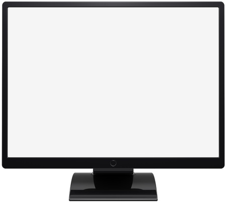 Monitor computer device flat lcd colored black with blank white screen. This is a detailed render 3d (Hi-Res). Isolated on white background photo