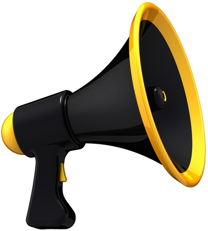 Megaphone black news message. Stylish dark colored loudspeaker model. Agitation propaganda public concept. This is a detailed render 3d. Isolated on white background photo