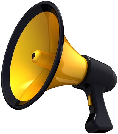 proclaim: Megaphone blog announce. Classic colored black and yellow loudspeaker model. Support propaganda public concept. This is a detailed render 3d (Hi-Res). Isolated on white background