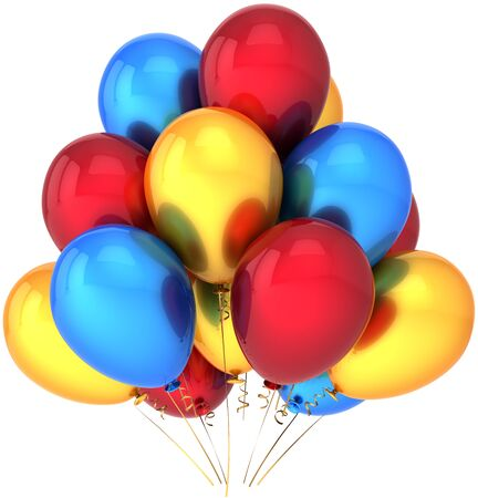Party balloons multicolor. Shiny colorful birthday festival celebrate decoration. Joyful happiness childhood abstract. This is a detailed render 3D (Hi-Res). Isolated on white background Stock Photo - 9099123