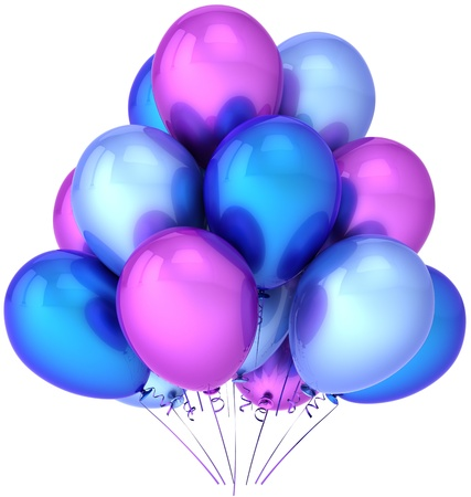 Party balloons colorful blue cyan purple. Shiny performance birthday celebrate decoration. Joyful happiness presentation abstract. This is a detailed render 3D (Hi-Res). Isolated on white background photo
