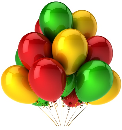 Party balloons multicolor red green yellow. Colorful celebrate decoration. Positive joyful happiness abstract. This is a detailed render 3D (Hi-Res). Isolated on white background Stock Photo - 9099025