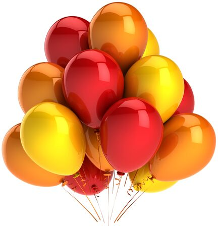 Party balloons colorful red orange yellow. Multicolor decoration of holiday. Heat emotions joyful happiness abstract. This is a detailed render 3D (Hi-Res). Isolated on white background photo