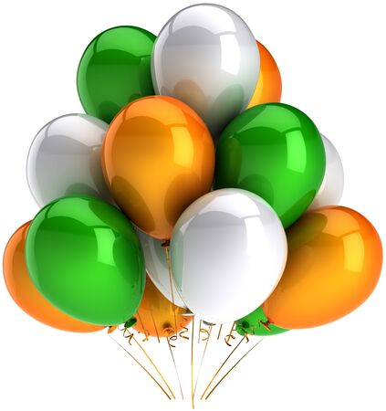 Party balloons multicolor green orange white. Shiny colorful decoration for celebration. Joyful happiness concept. Positive emotion abstract. This is a detailed render 3D. Isolated on white background Stock Photo - 9099024