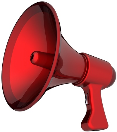 hot announcement: Megaphone hot news announcement alarm colored red. Beautiful shiny rescue loudspeaker. Help support leadership concept. This is a detailed render 3d (Hi-Res). Isolated on white background