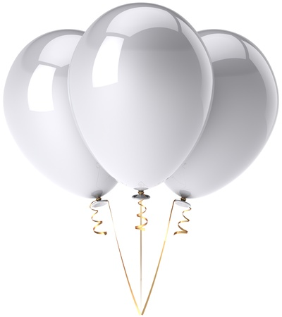 merchandising: Party balloons total white shiny and beautiful. Birthday celebrate decoration classic. Happiness joyful clean concept. This is a detailed three-dimensional render 3d. Isolated on white background