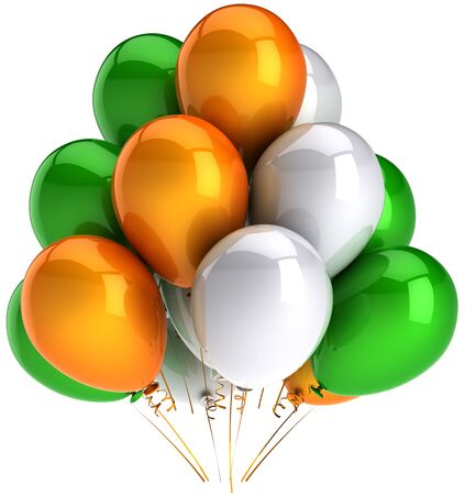 Party balloons colorful green orange white. Multicolor shiny decoration for holiday celebration. Joyful happiness concept. Emotions abstract. This is a detailed render 3D. Isolated on white background Stock Photo - 9099052