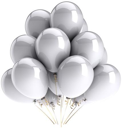 globos fiesta: Gris partido globos blancos incoloro. Cumplea�os celebrar cl�sico de decoraci�n. Concepto de alegre boda Virgen de felicidad. Se trata de una detallada representaci�n tridimensional 3d. Aislados en fondo blanco Foto de archivo