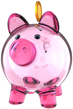 Piggy bank. Transparent glass money box colored pink with a golden coin over it. Business donate banking savings concept. This is a detailed three-dimensional render 3d. Isolated on white background photo