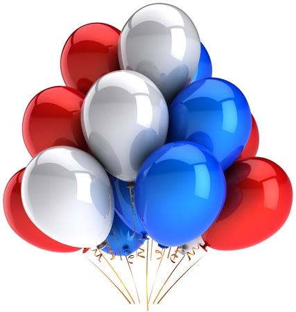 Partei Ballons bunten rot-weiß-blau. Multicolor nationalen Dekoration Anniversary celebration. Freudig glück Emotion abstrakt. Dies ist eine detaillierte 3D render. Isolated on white background Standard-Bild