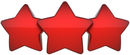 leadership qualities: Star shapes three red shiny symbol. Award leadership champion success concept. The best choice vote abstract. This is a detailed render 3d (Hi-Res). Isolated on white background