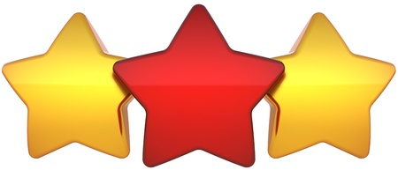 Star shapes three shiny (one red two golden) symbol. Leadership award champion success concept. The best choice vote abstract. This is a detailed render 3d (Hi-Res). Isolated on white background photo