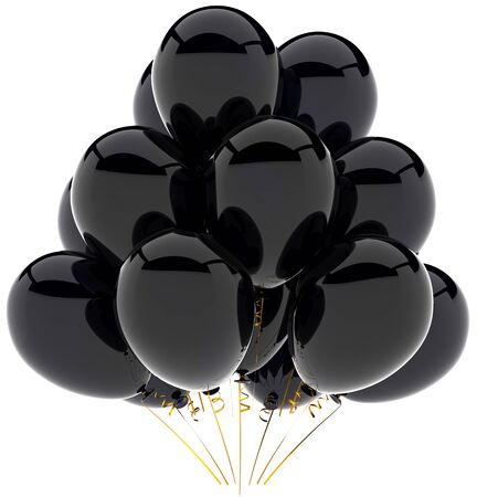 Party balloons black. Beautiful shiny celebrate decoration. Happiness joyful sorrow sadness commemoration concept. This is a detailed three-dimensional render 3d (Hi-Res). Isolated on white background Stock Photo - 9099084