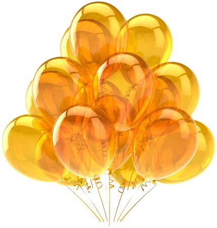 Party balloons yellow translucent. Beautiful modern birthday celebration decoration. Joyful happiness holiday emotions concept. Detailed three-dimensional render 3d. Isolated on white background Stock Photo - 9099085