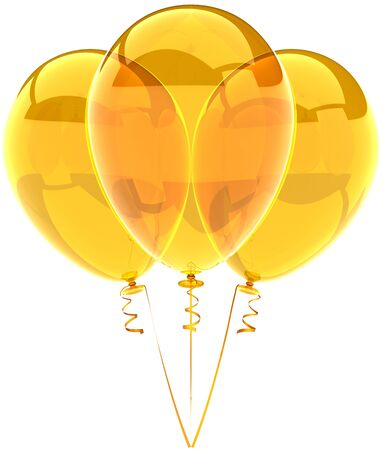 Party balloons three yellow translucent. Beautiful shiny birthday festival decoration. Joyful happiness holiday emotions concept. Detailed three-dimensional render 3d. Isolated on white background Stock Photo - 9099062