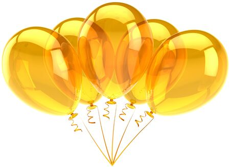 translucent: Party balloons five yellow orange translucent. Birthday holiday festival decoration. Joyful happiness funny emotion concept. Sunny summer abstract. Detailed 3d render. Isolated on white background Stock Photo