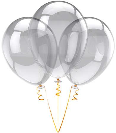 colourless: Blanco trasl�cido globos partido tres. Decoraci�n festival bella cumplea�os incoloro. Concepto de emociones de vacaciones de felicidad alegre. Detallada tridimensional procesamiento 3d. Aislados en fondo blanco