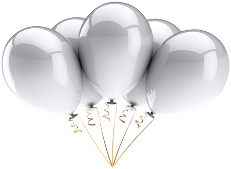 Party balloons colored white. Beautiful birthday celebrate wedding decoration. Happiness joyful clean concept. This is a detailed three-dimensional render 3d. Isolated on white background Stock Photo - 9099060