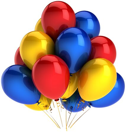 Party balloons multicolor red blue yellow. Shiny colorful decoration for birthday holiday celebration. Joyful fun happiness emotion abstract. This is a detailed render 3D. Isolated on white background photo