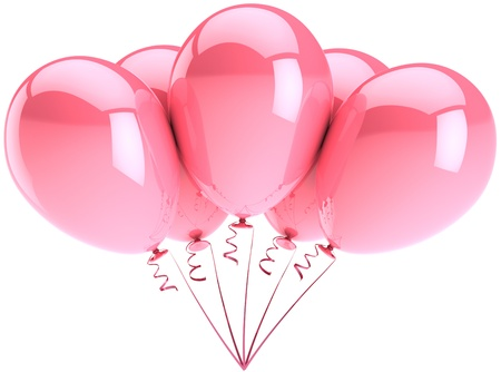 pink decorations: Party balloons five colored pink. Romantic wedding birthday decoration. Tender girlfriend love emotion concept. Detailed three-dimensional render 3d (Hi-Res). Isolated on white background