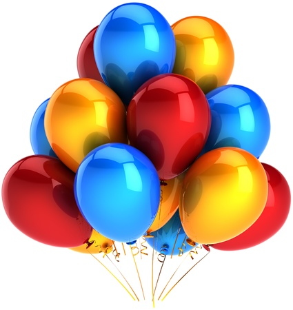 Party balloons multicolor blue orange red. Shiny colorful decoration for birthday holiday celebration. Joyful happiness childhood abstract. This is a detailed render 3d. Isolated on white background Stock Photo - 9099086
