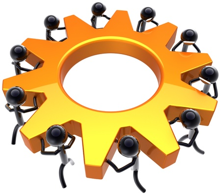 Business teamwork process. Power of workers team concept. Stylized shiny black peoples turning together an golden gear wheel. This is a detailed render 3D (Hi-Res). Isolated on white background Stock Photo - 9180567