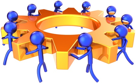 social movement: Teamwork business process. Company efficiency concept. Stylized blue shiny workers turning together an golden gear wheel. This is a detailed render 3D (Hi-Res). Isolated on white background