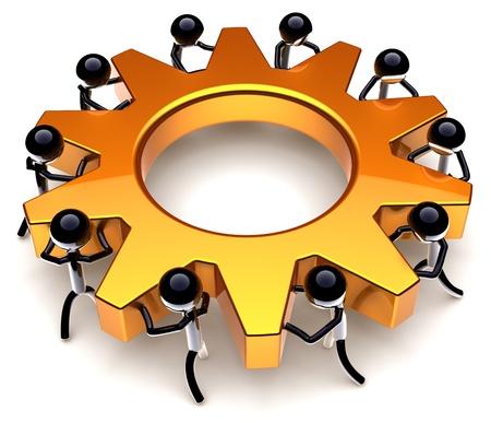 proceso: Proceso de trabajo en equipo. Resultado de progreso de eficiencia de negocios. �xito del concepto de equipo de trabajadores. Estilizada pueblos negros pasando juntos una rueda de engranaje de oro. Detallado procesamiento 3D. Aislados en fondo blanco