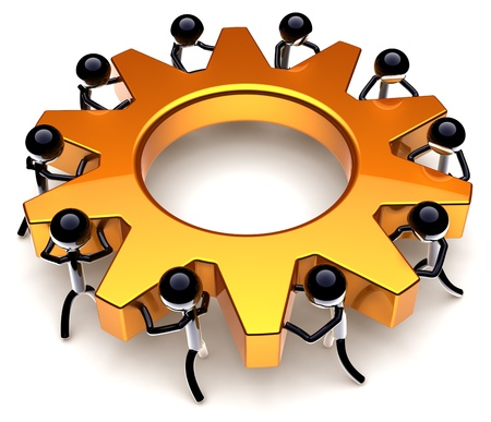 Teamwork process. Business efficiency progress result. Success of workers team concept. Stylized black peoples turning together an golden gear wheel. Detailed render 3D. Isolated on white background Stock Photo - 9180575