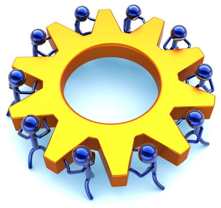 Business teamwork process. Community efficiency cooperation abstract. Success of team concept. Stylized workers turning together an golden gear wheel. Detailed render 3D. Isolated on white background photo