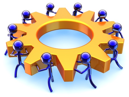 Business teamwork efficiency. Dream team cooperation abstract. Success of community concept. Stylized characters turning together an golden gear wheel. Detailed render 3D. Isolated on white background Stock Photo - 9180569