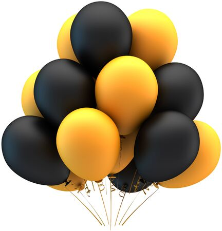 Party balloons colorful black and yellow in a bunch. Matte two colors decoration for holiday celebration. Joyful happiness sadness abstract. This is a detailed render 3d. Isolated on white background Stock Photo - 9180572