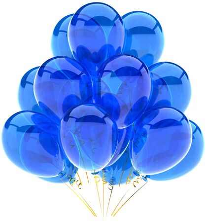 Party balloons blue translucent. Modern shiny cyan decoration for birthday holiday celebration. Fun joyful happiness emotion abstract. This is a detailed render 3d. Isolated on white background Stock Photo - 9180577