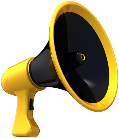 Megaphone announce propaganda. Stylish contemporary loudspeaker colored black and yellow. News leadership speech concept. This is a detailed render 3d (Hi-Res). Isolated on white background photo