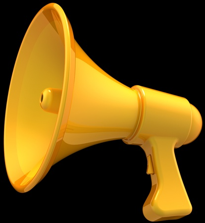 announce: Megaphone news announce icon. Shiny yellow loudspeaker classic. Support propaganda public concept. This is a detailed render 3d (Hi-Res). Isolated on black background