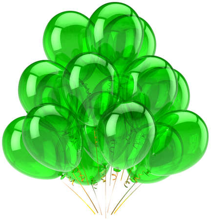 Party balloons green translucent. Beautiful shiny decoration for holiday birthday performance celebration. Joyful fun happiness emotion abstract. Detailed render 3d. Isolated on white background Stock Photo - 9180587