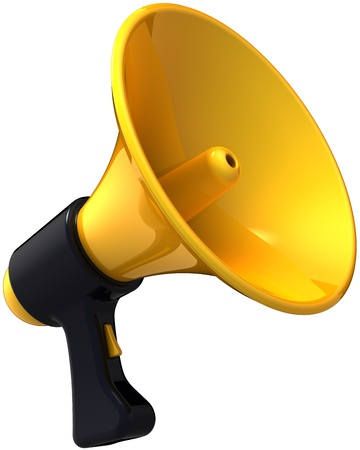 business news: Megaphone news blog message. Shiny yellow black siren loudspeaker. Business idea announcement concept. This is a detailed render 3d (Hi-Res). Isolated on white background