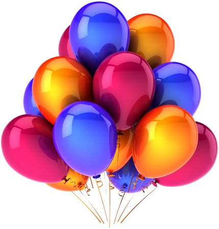 birthday present: Party balloons multicolor holiday shiny decoration. Birthday celebration concept symbol. Joyful happiness entertainment abstract. This is a detailed render 3d. Isolated on white background