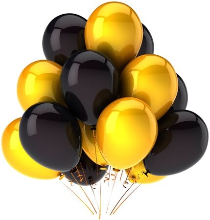 Party balloons shiny yellow and black in a bunch. Beautiful modern colorful decoration for holiday celebration. Joyful happiness abstract. This is a detailed render 3d. Isolated on white background