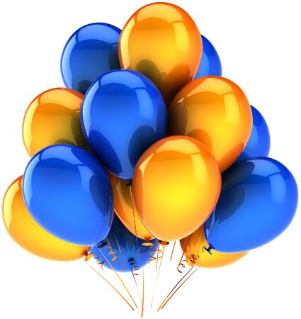 Party balloons multicolor blue orange. Beautiful shiny decoration for birthday holiday celebration. Joyful happiness positive emotions abstract. Detailed render 3d. Isolated on white background Stock Photo - 9180583