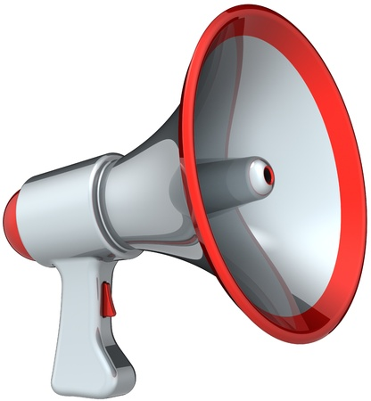 a public notice: Megaphone announcement communication. Silver grey with red parts bullhorn loudspeaker classic. Attention message warning concept. This is a detailed render 3d (Hi-Res). Isolated on white background