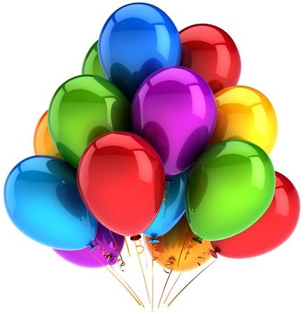 globos fiesta: Partido globos multicolores. Decoraci�n de brillante colorida. Resumen de rendimiento de celebraci�n de cumplea�os de vacaciones. Procesamiento de 3d de alta calidad. Aislados en fondo blanco