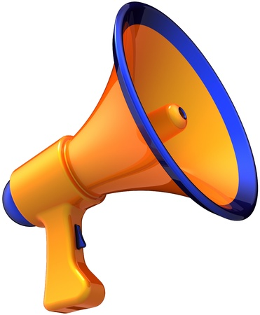 Megaphone communication announcement news. Modern orange bullhorn loudspeaker with blue parts. Grand opening sale message concept. This is a detailed 3D render (Hi-Res). Isolated on white background