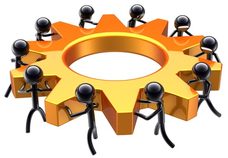business process: Teamwork business process. Partnership maximum efficiency result. Success of workers team concept abstract. Stylized shiny black peoples turning an golden gear wheel. Isolated on white background Stock Photo
